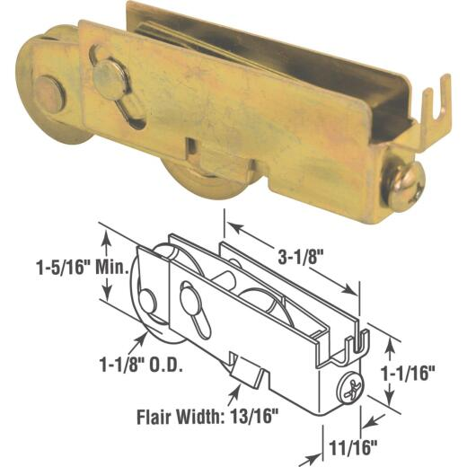 Prime-Line 1-1/8 In. Tandem Steel Patio Door Roller with Housing Assembly
